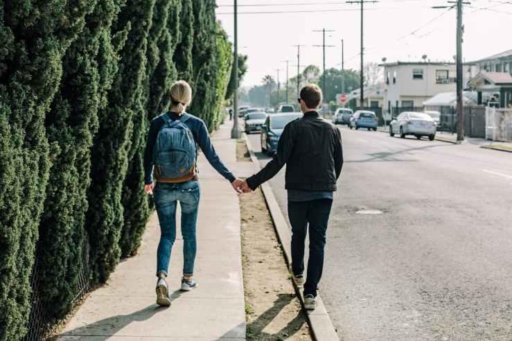 road couple girl walk