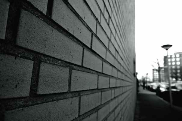architecture black and white blur bricks