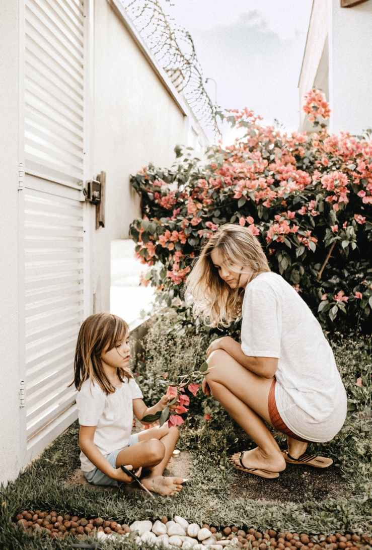 mother and daughter in the garden